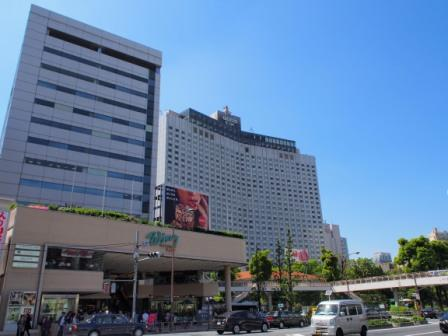 Streets and hotels in front of Shinagawa Station, Tokyo, Japan.